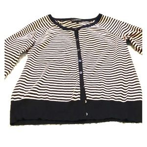 LB Lane Bryant Black & Pink Stripe Cardigan